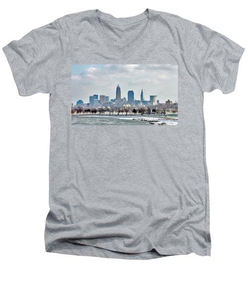 Cleveland Skyline In Winter Men's V-Neck T-Shirt