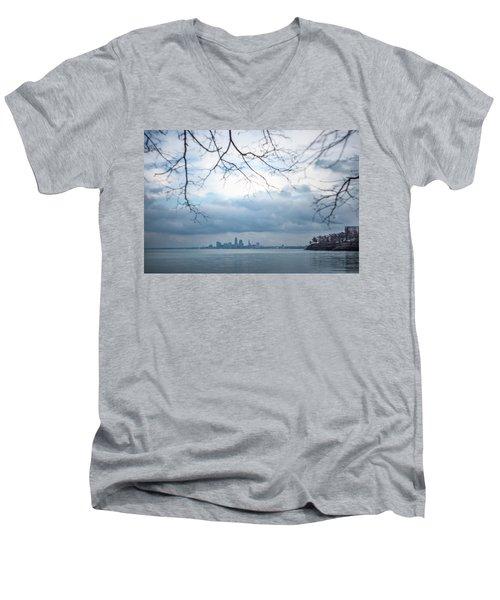 Cleveland Skyline With A Vintage Lens Men's V-Neck T-Shirt