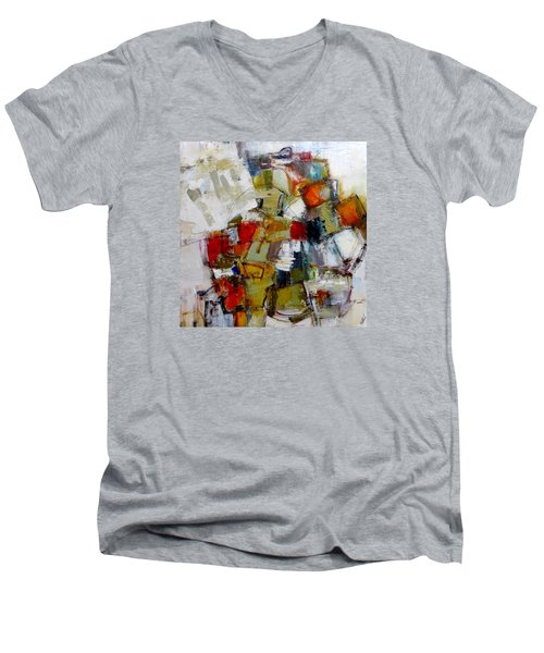 Men's V-Neck T-Shirt featuring the painting Clever Clogs by Katie Black