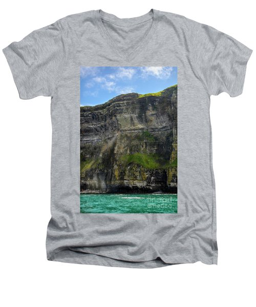 Men's V-Neck T-Shirt featuring the photograph Cliffs Of Moher From The Sea Close Up by RicardMN Photography
