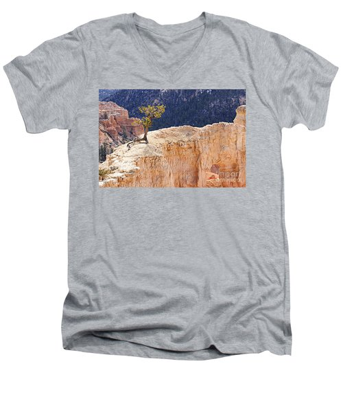 Clinging To The Top Of The Wall Men's V-Neck T-Shirt
