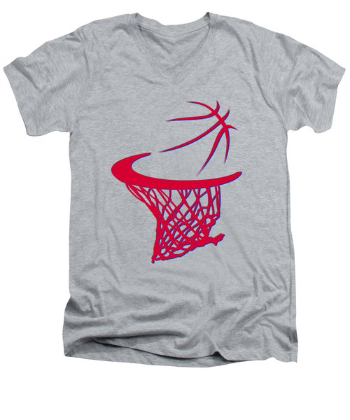 Clippers Basketball Hoop Men's V-Neck T-Shirt by Joe Hamilton