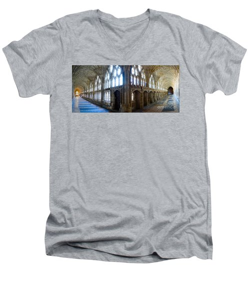 Men's V-Neck T-Shirt featuring the photograph Cloisters, Gloucester Cathedral by Colin Rayner