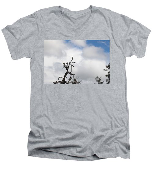 Men's V-Neck T-Shirt featuring the photograph Close Call by Marie Neder