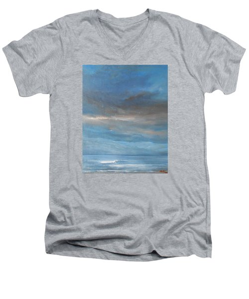 Men's V-Neck T-Shirt featuring the painting Close Of Day by Jane See