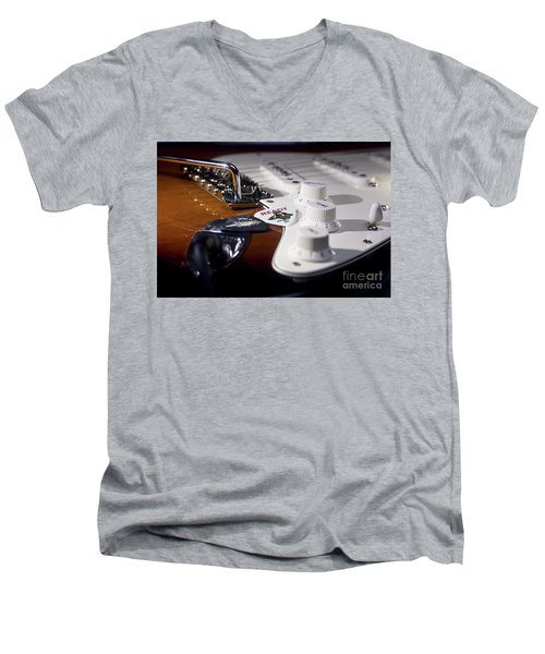 Men's V-Neck T-Shirt featuring the photograph Close Up Guitar by MGL Meiklejohn Graphics Licensing