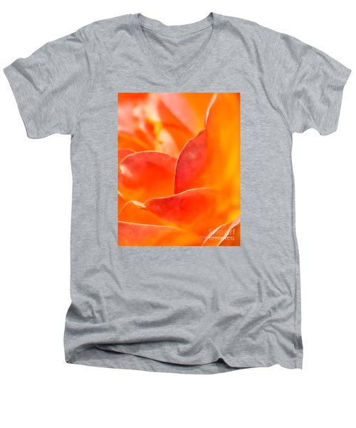 Men's V-Neck T-Shirt featuring the photograph Close-up Of An Orange Rose Flower by David Perry Lawrence