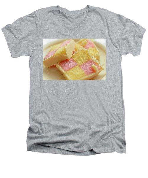Close Up Of Battenberg Cake E Men's V-Neck T-Shirt