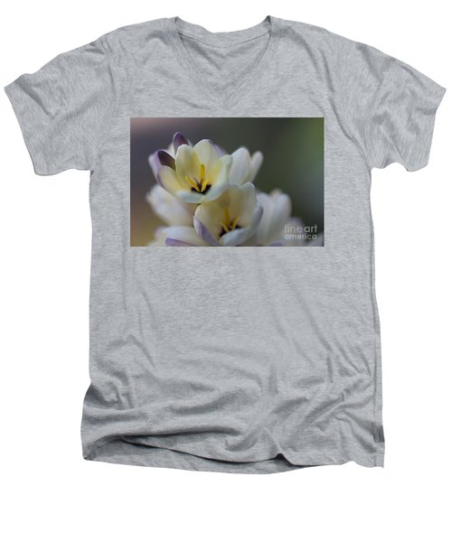 Close-up Of White Freesia Men's V-Neck T-Shirt