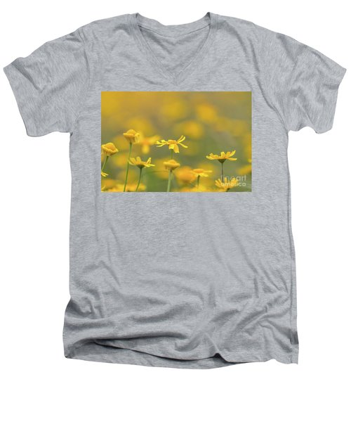 Close Up Of Yellow Flower With Blur Background Men's V-Neck T-Shirt