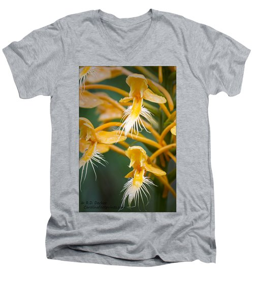 Close-up Of Yellow Fringed Orchid Men's V-Neck T-Shirt
