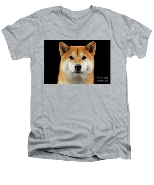 Close-up Portrait Of Head Shiba Inu Dog, Isolated Black Background Men's V-Neck T-Shirt by Sergey Taran