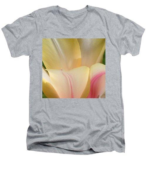 Men's V-Neck T-Shirt featuring the photograph Close-up Tulip by Karen Molenaar Terrell