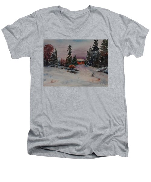 Men's V-Neck T-Shirt featuring the painting Closed For The Season by Ruth Kamenev
