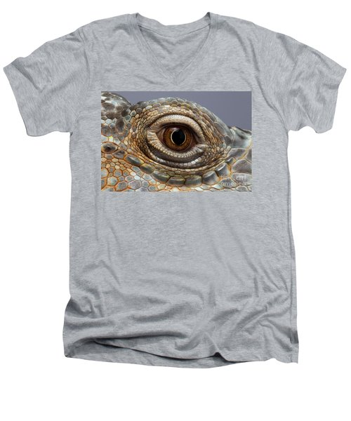 Closeup Eye Of Green Iguana Men's V-Neck T-Shirt by Sergey Taran