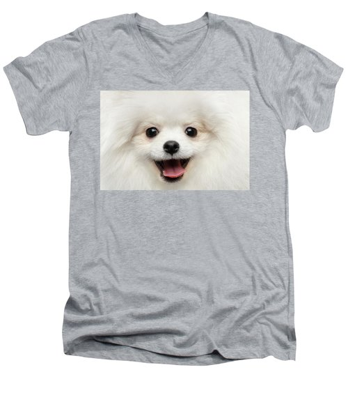 Men's V-Neck T-Shirt featuring the photograph Closeup Furry Happiness White Pomeranian Spitz Dog Curious Smiling by Sergey Taran