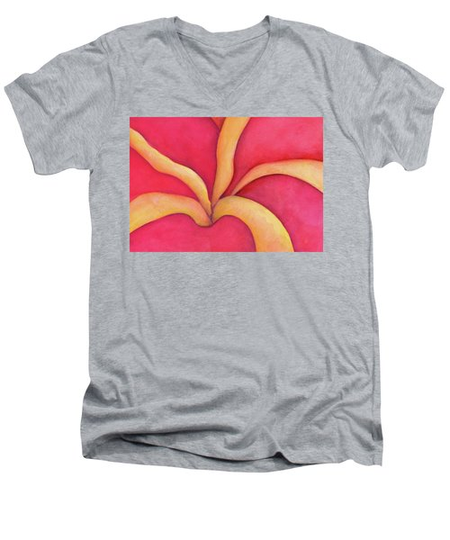 Closeup Of Red Rose Men's V-Neck T-Shirt by Versel Reid