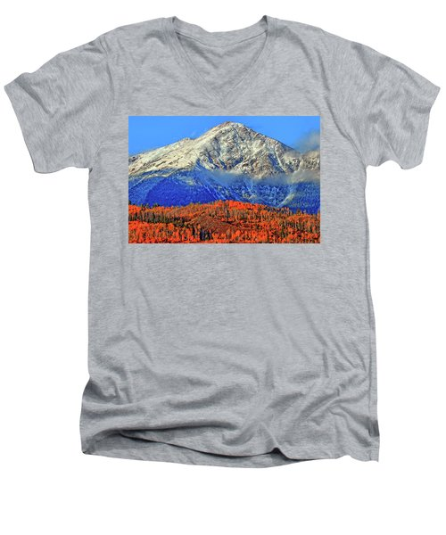 Men's V-Neck T-Shirt featuring the photograph Closing In On Fall by Scott Mahon