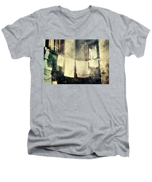 Clothes Hanging Men's V-Neck T-Shirt by Vittorio Chiampan