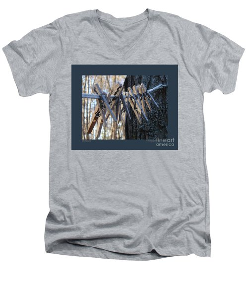 Men's V-Neck T-Shirt featuring the photograph Clothespins by Patricia Overmoyer