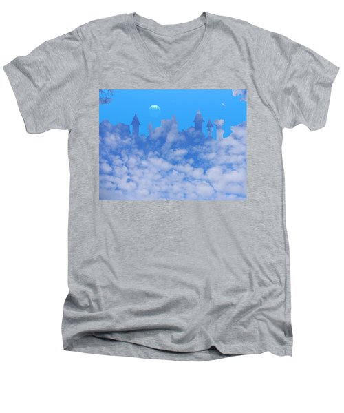 Cloud Castle Men's V-Neck T-Shirt by Mark Blauhoefer