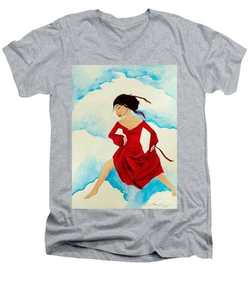 Cloud Dancing Of The Sky Warrior Men's V-Neck T-Shirt