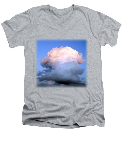 Cloud Explosion T-shirt Men's V-Neck T-Shirt by Isam Awad