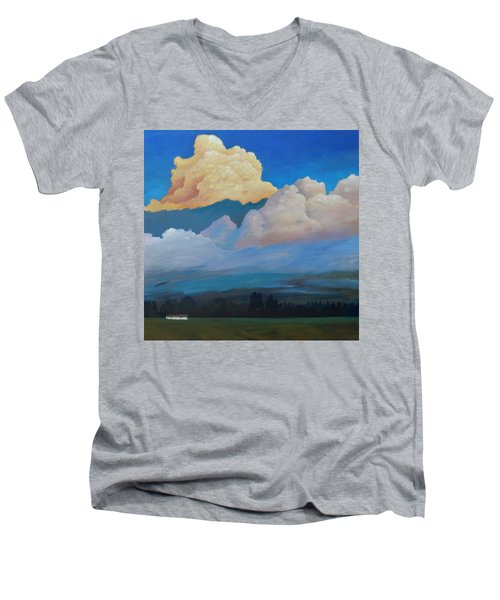 Men's V-Neck T-Shirt featuring the painting Cloud On The Rise by Gary Coleman