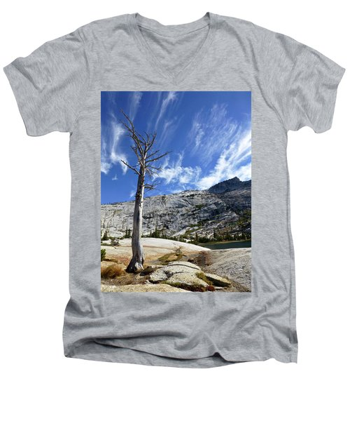 Cloud Stretch Lower Cathedral Lake Men's V-Neck T-Shirt by Amelia Racca