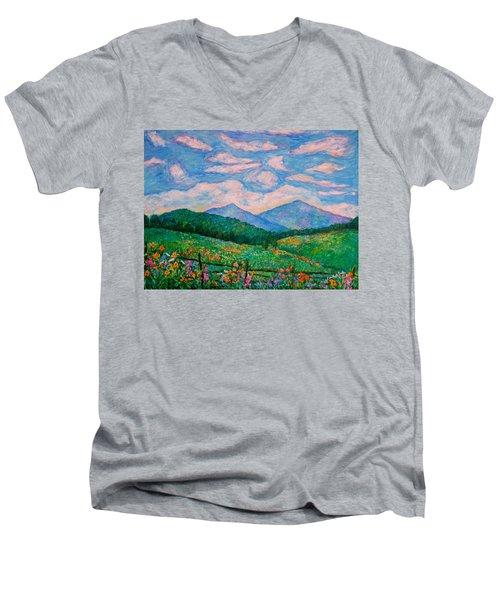 Cloud Swirl Over The Peaks Of Otter Men's V-Neck T-Shirt by Kendall Kessler