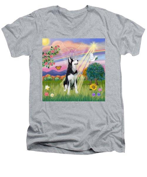 Cloudangel #1 - Siberian Husky Men's V-Neck T-Shirt