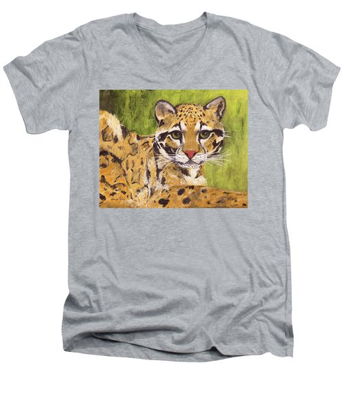 Men's V-Neck T-Shirt featuring the painting Clouded Cat by Jamie Frier