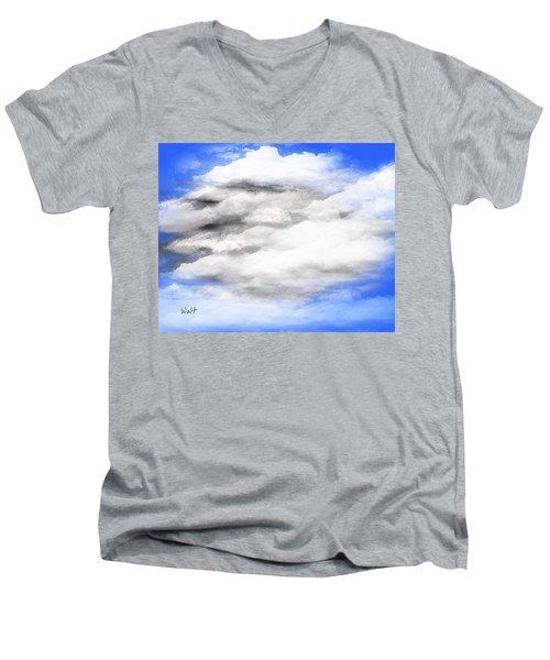 Men's V-Neck T-Shirt featuring the digital art Clouds 2 by Walter Chamberlain