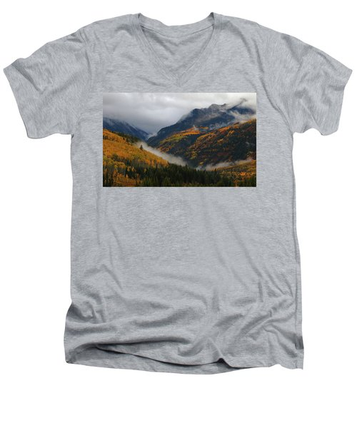 Clouds And Fog Encompass Autumn At Mcclure Pass In Colorado Men's V-Neck T-Shirt by Jetson Nguyen