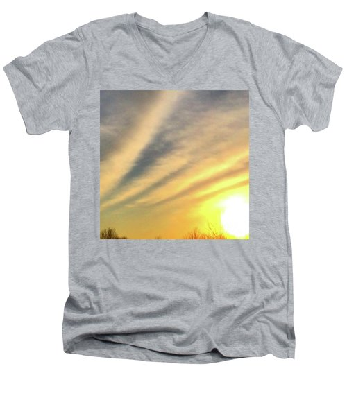 Men's V-Neck T-Shirt featuring the photograph Clouds And Sun by Sumoflam Photography