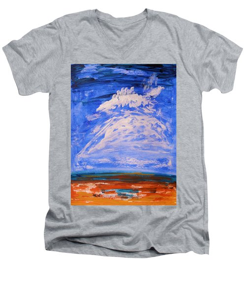 Men's V-Neck T-Shirt featuring the painting Clouds Dance by Mary Carol Williams