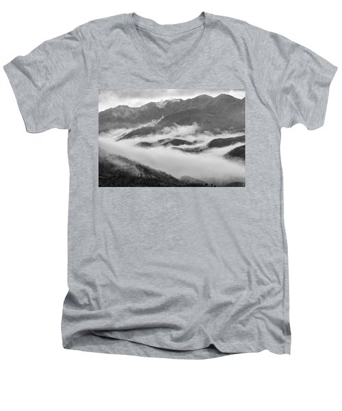Men's V-Neck T-Shirt featuring the photograph Clouds In Valley, Sa Pa, 2014 by Hitendra SINKAR