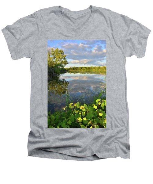 Clouds Mirrored In Snug Harbor Men's V-Neck T-Shirt