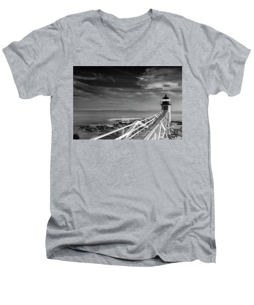 Clouds Over Marshall Point Lighthouse In Maine Men's V-Neck T-Shirt