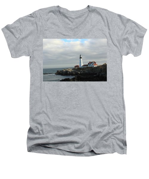 Clouds Over Portland Head Lighthouse 2 Men's V-Neck T-Shirt