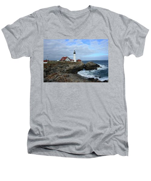 Clouds Over Portland Head Lighthouse Men's V-Neck T-Shirt