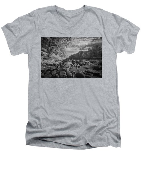 Clouds Over The River Rocks Men's V-Neck T-Shirt