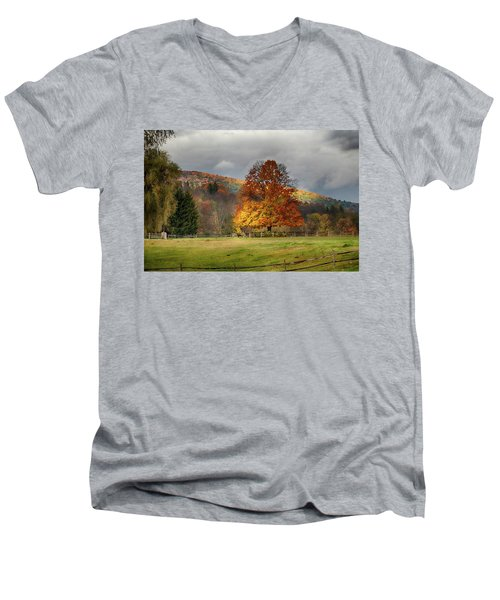Clouds Part Over Marsh Billings-rockefeller Nhp Men's V-Neck T-Shirt