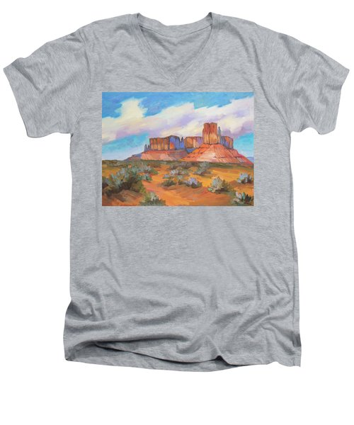 Men's V-Neck T-Shirt featuring the painting Clouds Passing Monument Valley by Diane McClary