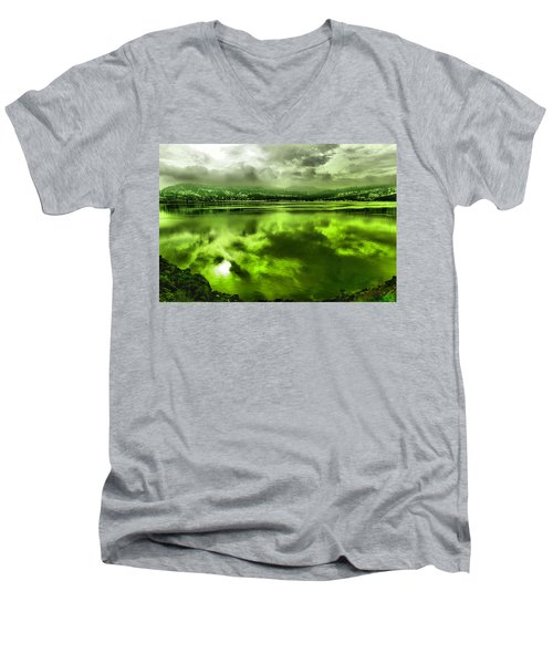 Men's V-Neck T-Shirt featuring the photograph Clouds Reflecting Off The Columbia  by Jeff Swan