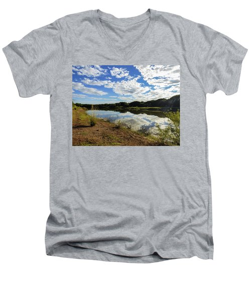 Clouds Reflecting On The Uruguay River Men's V-Neck T-Shirt