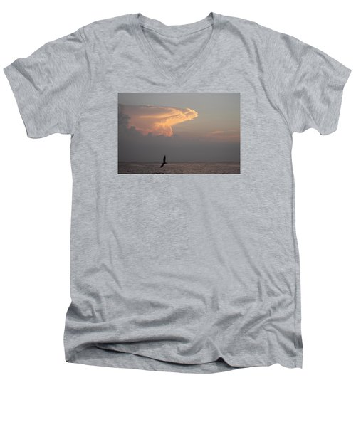 Men's V-Neck T-Shirt featuring the photograph Clouds Signalling Dawn by Robert Banach