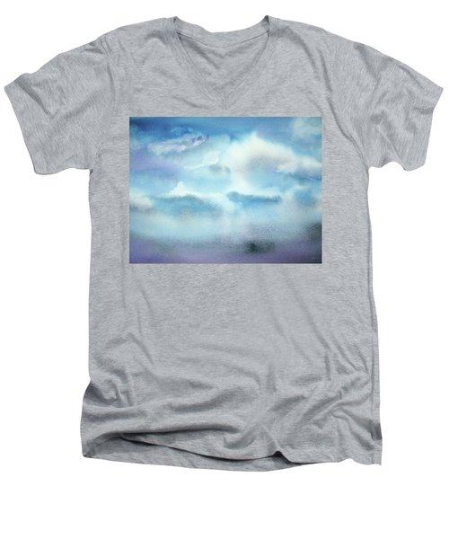 Men's V-Neck T-Shirt featuring the painting Cloudscape by Ellen Levinson