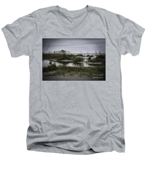 Men's V-Neck T-Shirt featuring the photograph Cloudy Beach Day by Judy Wolinsky