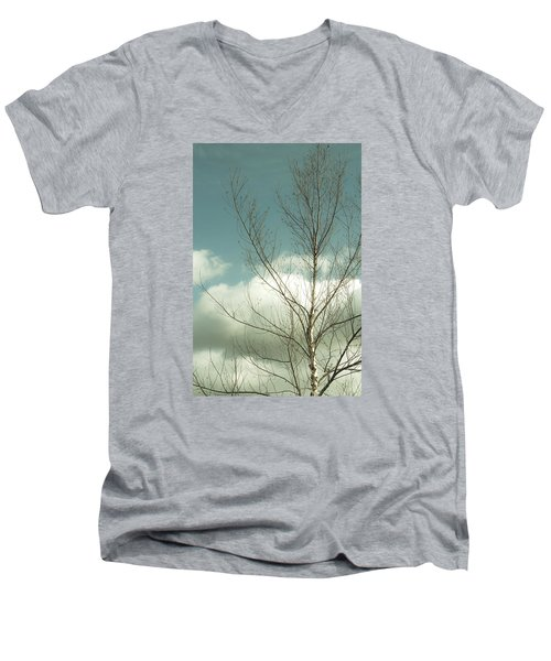 Men's V-Neck T-Shirt featuring the photograph Cloudy Blue Sky Through Tree Top No 2 by Ben and Raisa Gertsberg